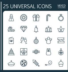 Christmas icons set collection of christmas ball vector