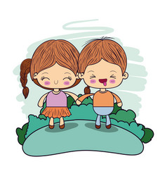 Color picture couple kawaii wink kids taken hands vector