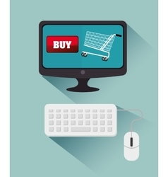 Computer cyber monday bying cart vector