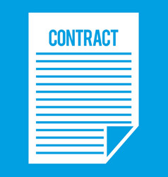 Contract icon white vector