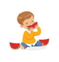 cute little boy character enjoying eating vector image vector image