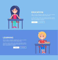 education learning set of posters with boy and vector image vector image