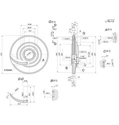 Engineering sketch of wheel with blades vector