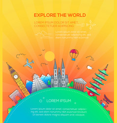 explore the world - flat design travel composition vector image vector image