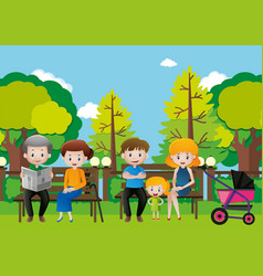 family sitting in a park vector image