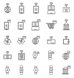 Fintech line icons on white background vector
