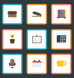 flat icons phone armchair whiteboard and other vector image vector image