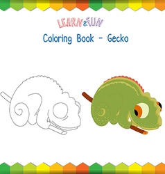 Gecko coloring book educational game vector