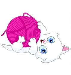 kitten with wool ball vector image vector image