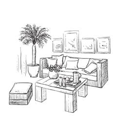 Modern interior room sketch Furniture vector image