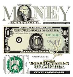 money 1 One vector image vector image
