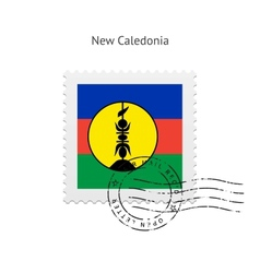 New caledonia flag postage stamp vector