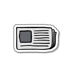 newspaper doodle icon vector image vector image