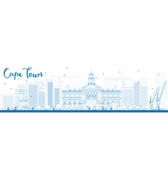 Outline cape town skyline with blue buildings vector