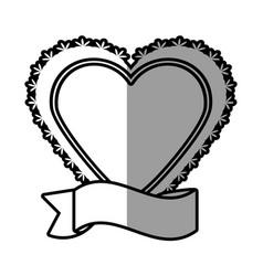 romantic heart ribbon decoration celebration vector image