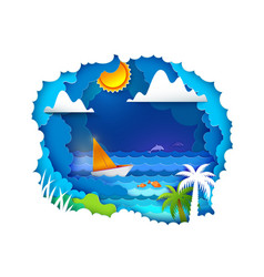 Sailboat on tropical sea vector