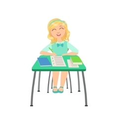Schoolgirl sitting behind the desk in school class vector