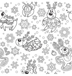 seamless pattern with christmas deers in outline vector image vector image