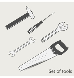 set of tools screwdriver wrench hammer saw vector image
