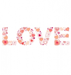 sign love made of hearts vector image vector image
