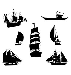 Silhouettes of historic sailing ships-1 vector