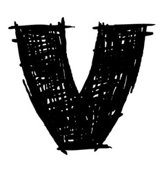 V - hand drawn character sketch font vector