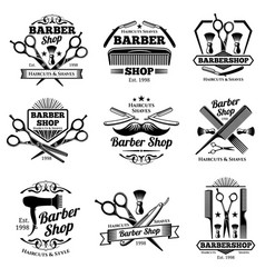 vintage barbershop emblems and labels vector image vector image