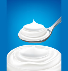 White milk whipped cream on spoon vector