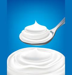 white milk whipped cream on spoon vector image