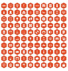 100 appliances icons hexagon orange vector