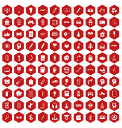 100 creative idea icons hexagon red vector