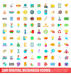 100 digital business icons set cartoon style vector