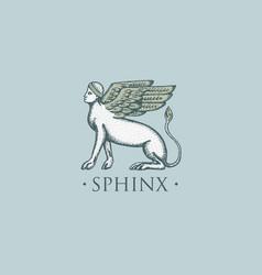 sphinx logo ancient greece antique symbol vintage vector image