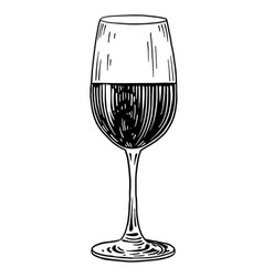 wine glass  drawing engraving ink vector image