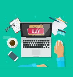 Online shopping concept  flat style laptop vector
