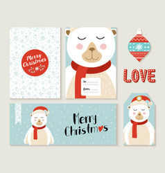 polar bear merry christmas greeting card set vector image