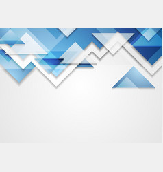 Shiny blue tech triangles abstract background vector