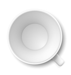 top view of empty coffee mug on white vector image