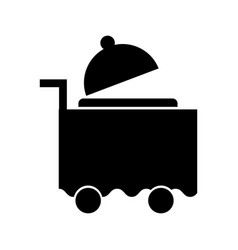 Cart room service with tray server isolated icon vector