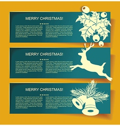 Beautiful christmas banners with reindeer vector