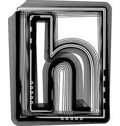 Striped font letter h vector