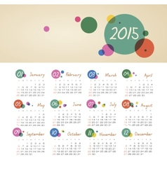Calendar 2015 year with circles vector image