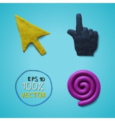 Plasticine colored cursors vector