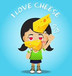 Happy woman carrying fork with big piece of cheese vector
