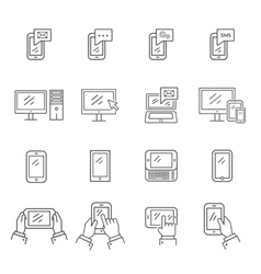 Set of icons modern technology and communication vector