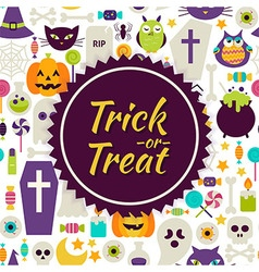 Flat trick or treat halloween background vector