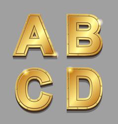 Gold letters alphabet font style A B C D vector image