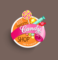 Candy shop label vector