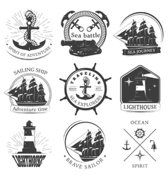 Sailing black white emblems vector