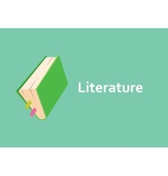 Literature books with green cover style with text vector